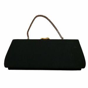 Vintage Black Handbag w/ Gold Chain & Rhinestone Clasp